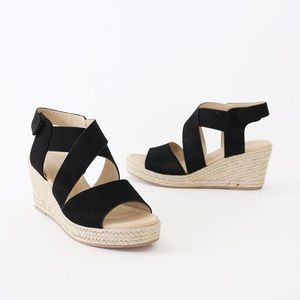 preview black perforated espadrille sandal